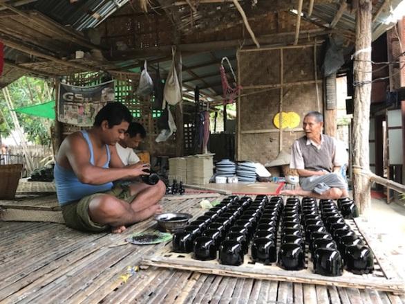 Myinkabar Village Lacquerware process in Bagan