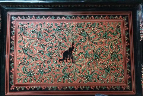 Lacquerware artwork in Myinkabar, Bagan