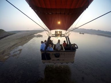 Balloon flight along the Irrawaddy River