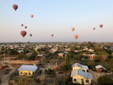 Flying over local villages in Bagan