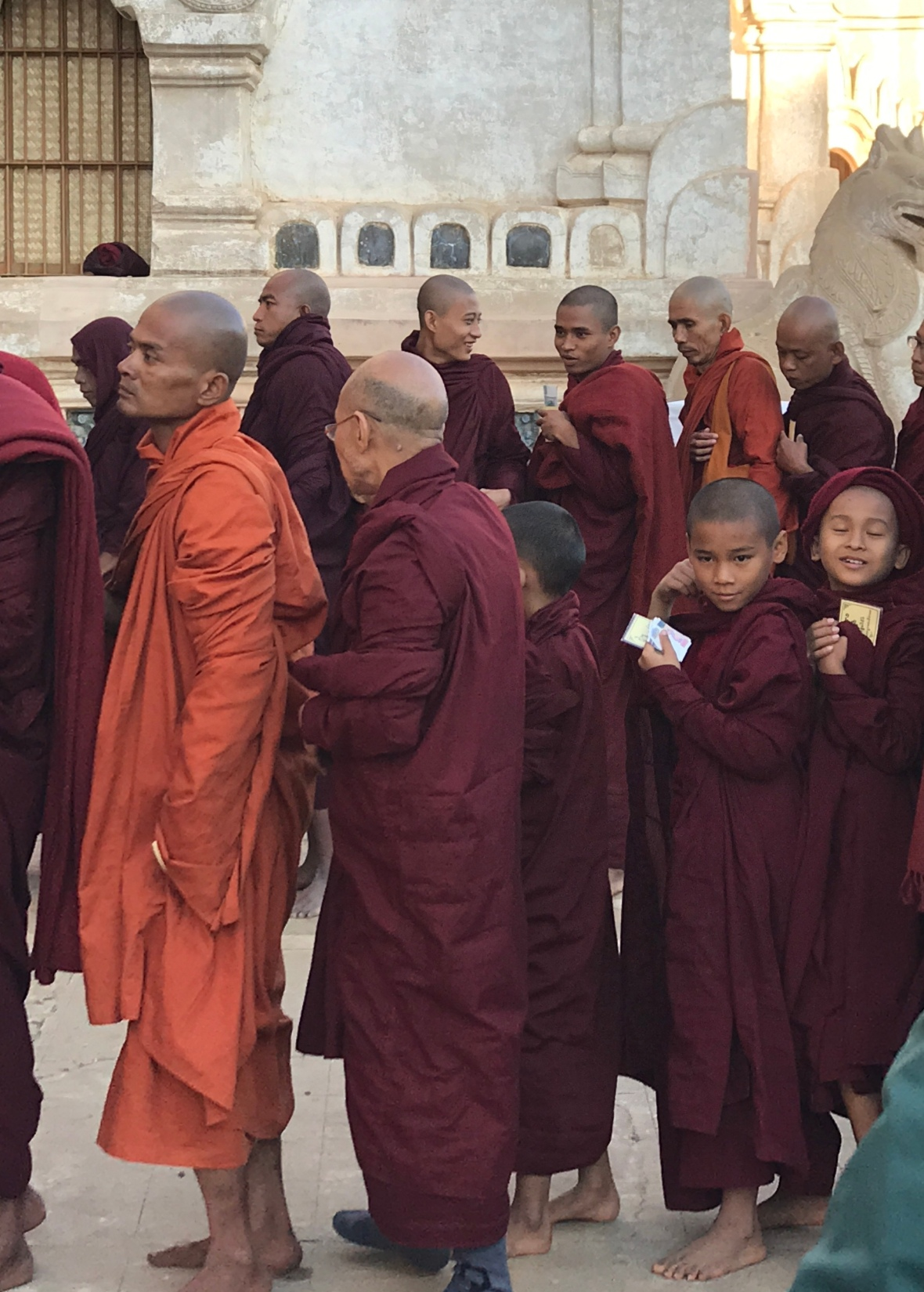 Monks at the Ananda Temple donation ceremony